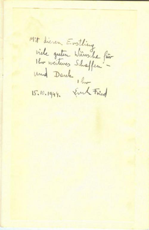 Es ist es erich ist fried gedicht was Erich Fried:
